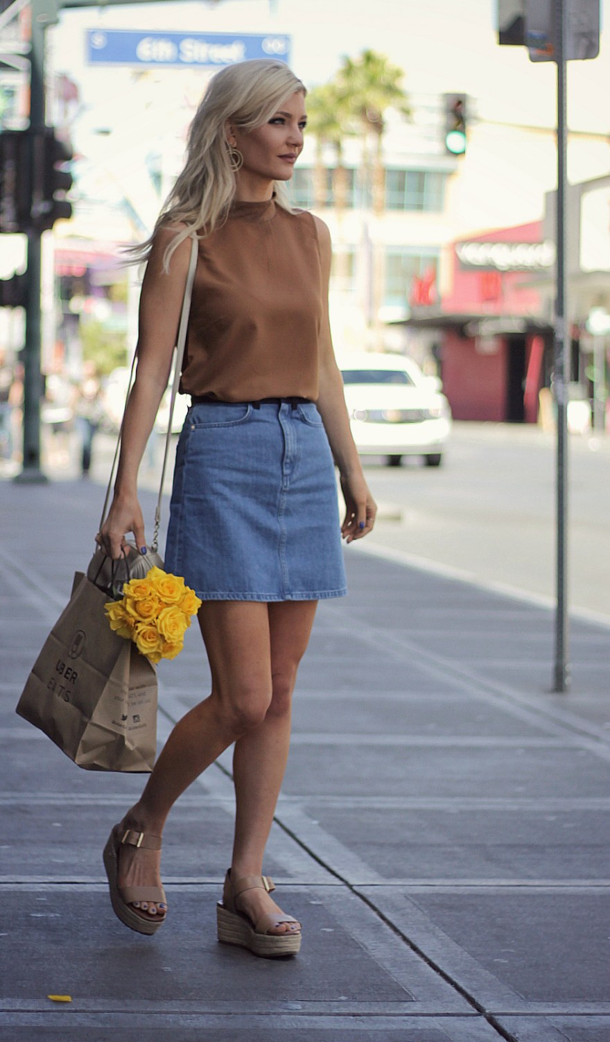 weekend wear, casual, outfit, style, fashion, street style, fashion blogger, french connection, flatforms, denim skirt, the nomis niche, lindsey simon