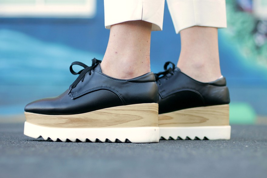 platform oxfords, shoes, shein, stella mccartney, fashion, outfit, how to wear, blogger, ootd, shoe trend, outfit ideas,