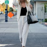 WHITE PANTSUIT & PLATFORM OXFORDS
