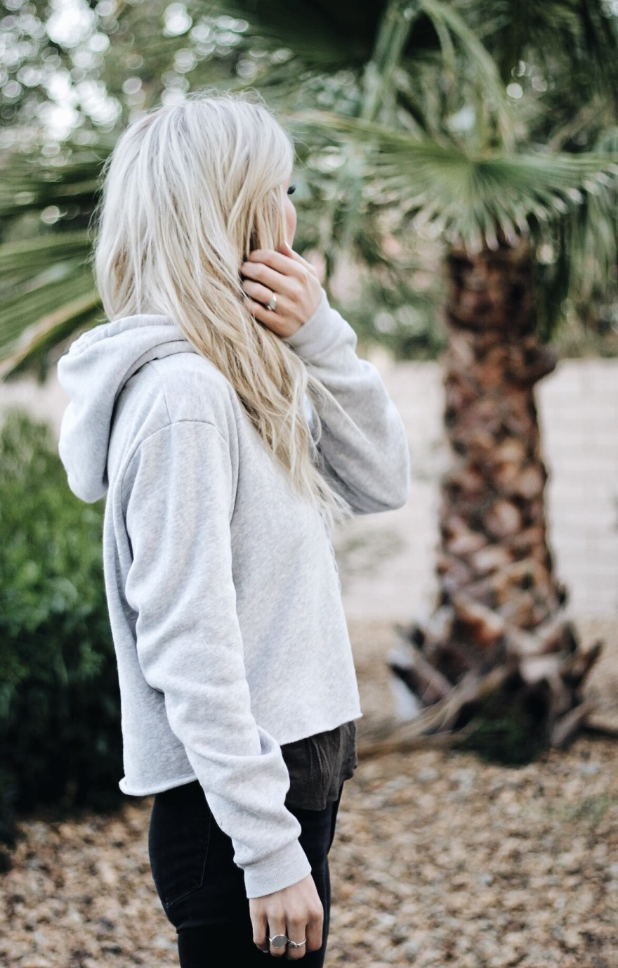cropped hoodie, brandy melville, birenstocks, ripped jeans, spring outfit, athleisure, casual style, california, style, cali girl, outfit, fashion blogger, platinum hair, the nomis niche, las vegas,