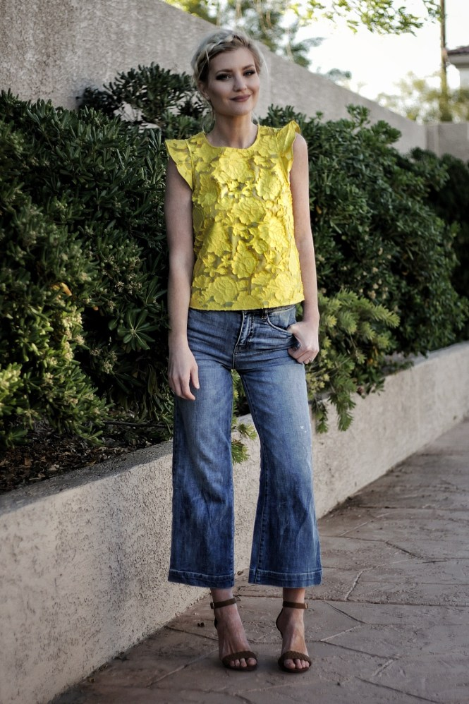 cropped jeans, kick flares, denim, style, outfit, summer outfit, work, outfit, ootd, work wear, office, summer outfit, spring, ruffle, sleeves, fashion blogger, denim, style, the nomis niche, las vegas, blogger, lindsey, simon, crown braid