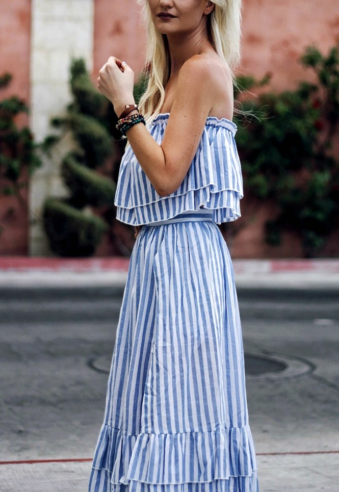 two-piece, set, shein, stripes, midi skirt, off the shoulder, ruffles, summer style, gladiator, sandals, lace up, nude sandals, las vegas, fashion blogger, style, ootd, style inspo, inspiration