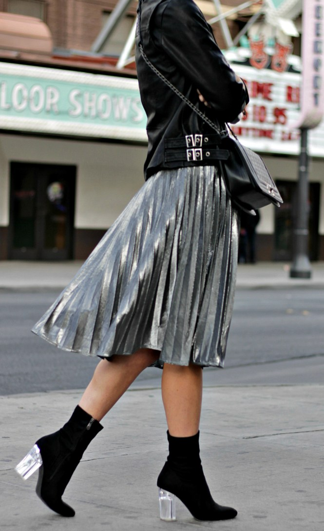boots, booties, boot trends 2017, must have boots 2017, fall/winter 2017, lucite heels, perplex heels, sock booties, las vegas, fashion blogger, blogger, style, outfit, ootd, lindsey simon, the nomis niche, metallic, trend, skirt, midi skirt, leather jacket, street style, street style outfit, how to wear,