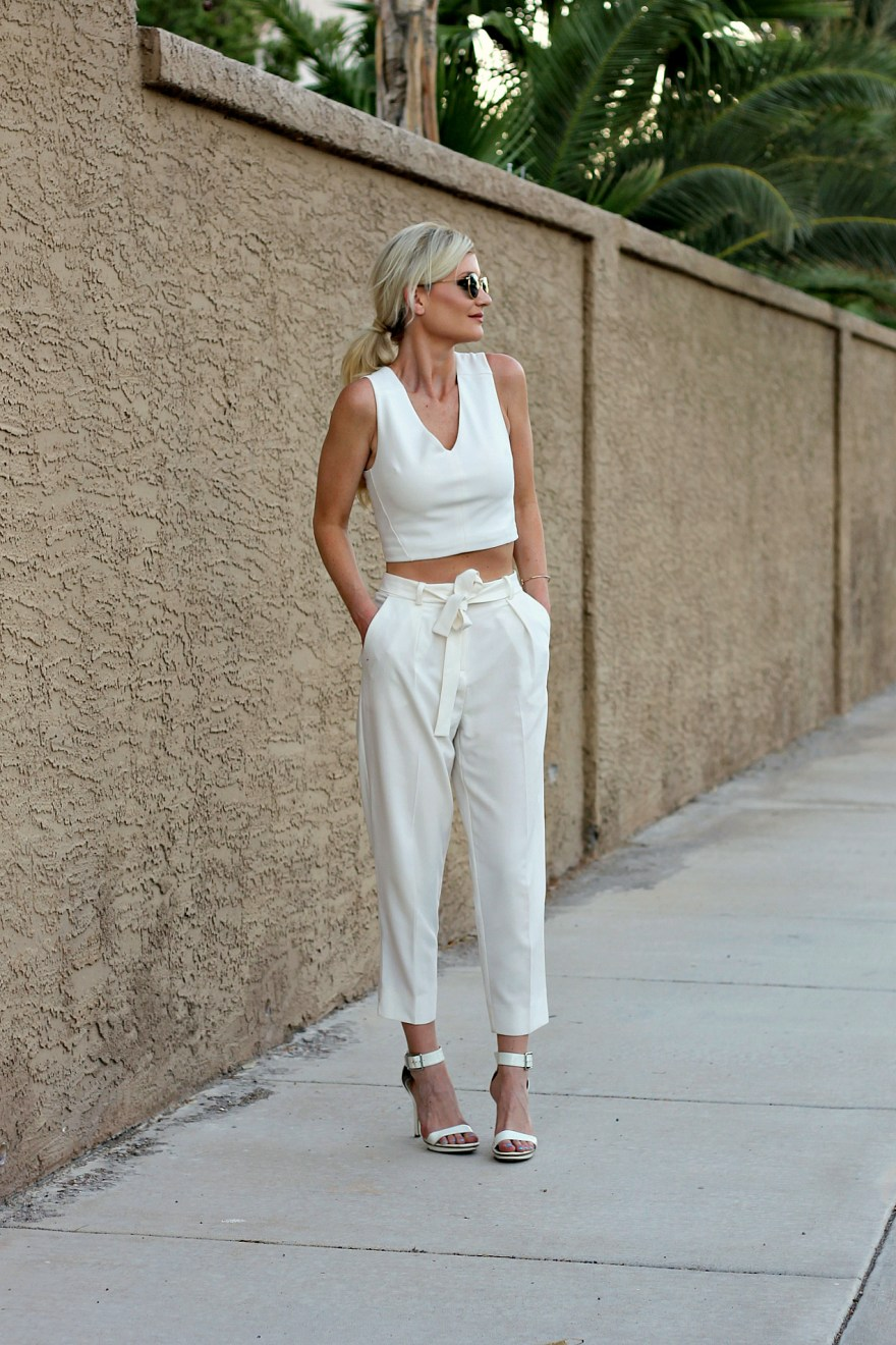 white pants, white trousers, all white, summer outfit inspo, summer outfit ideas, summer style, outfit ideas, how to wear, las vegas, fashion blogger, white ankle strap eels, crop top