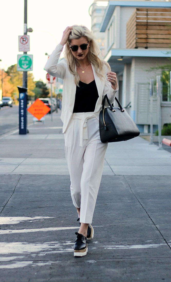 white pants, white trousers, all white, summer outfit inspo, summer outfit ideas, summer style, outfit ideas, how to wear, las vegas, platform shoes, platform oxfords, wedge oxfords, wedge sneakers, crawlers, womens suit, furla bag, fashion blogger, white ankle strap eels, crop top