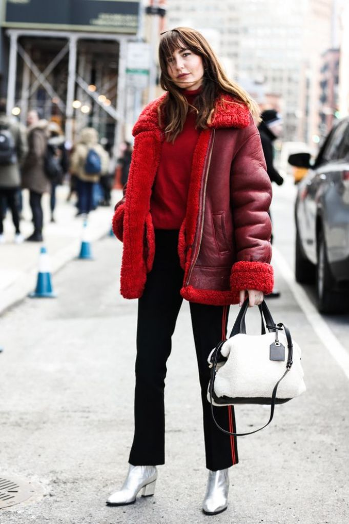 fall style, winter style, red coat, fur coat, silver booties, metallic booties, street style, street fashion, fashion, style, outfit Inspo, outfit ideas, how to wear, fashion blogger