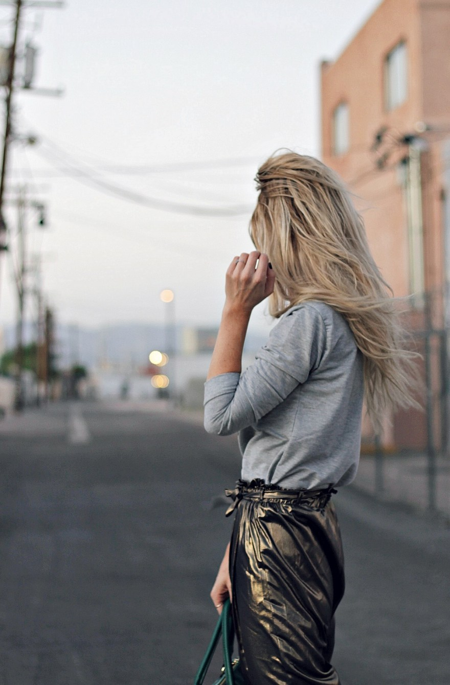gold pants, harem pants, dinosaur, dino, sweatshirt, sweater, t-rex, green bag, bowler bag, furry heels, fuzzy heels, fall style, date night style, work appropriate, randolf engineering, sunglasses, Las Vegas, fashion blogger, street style, Charles David, shein, budget friendly, fashion, Lindsey Simon, The Noms Niche