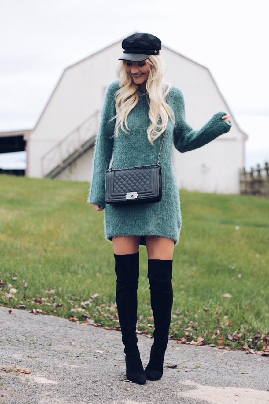 sweater dress, fall style, fall fashion, winter style, winter fashion, cabbie hat, baker boy hat, outfit inspiration, outfit ideas, outfit, how to wear, over the knee boots, Chanel bag, quilted bag, forever 21, Lindsey Simon, The Nomis Niche, fashion blogger, Las Vegas blogger, beauty blogger,