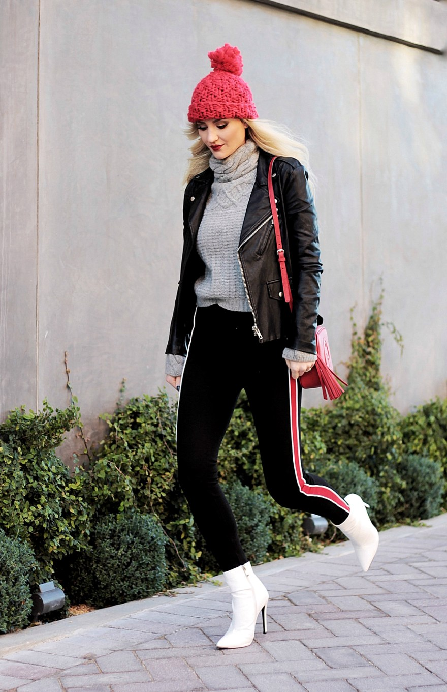 ootd, winter outfit, white boots, side stripe, leggings, leather jacket, turtleneck, pom hat, pom beanie, winter outfit, winter style, fall stye, Gucci bag, Gucci soho bag, Las Vegas blogger, Lindsey Simon, the nomis, niche, street style, casual style, edgy winter outfit, casual winter outfit, white booties,