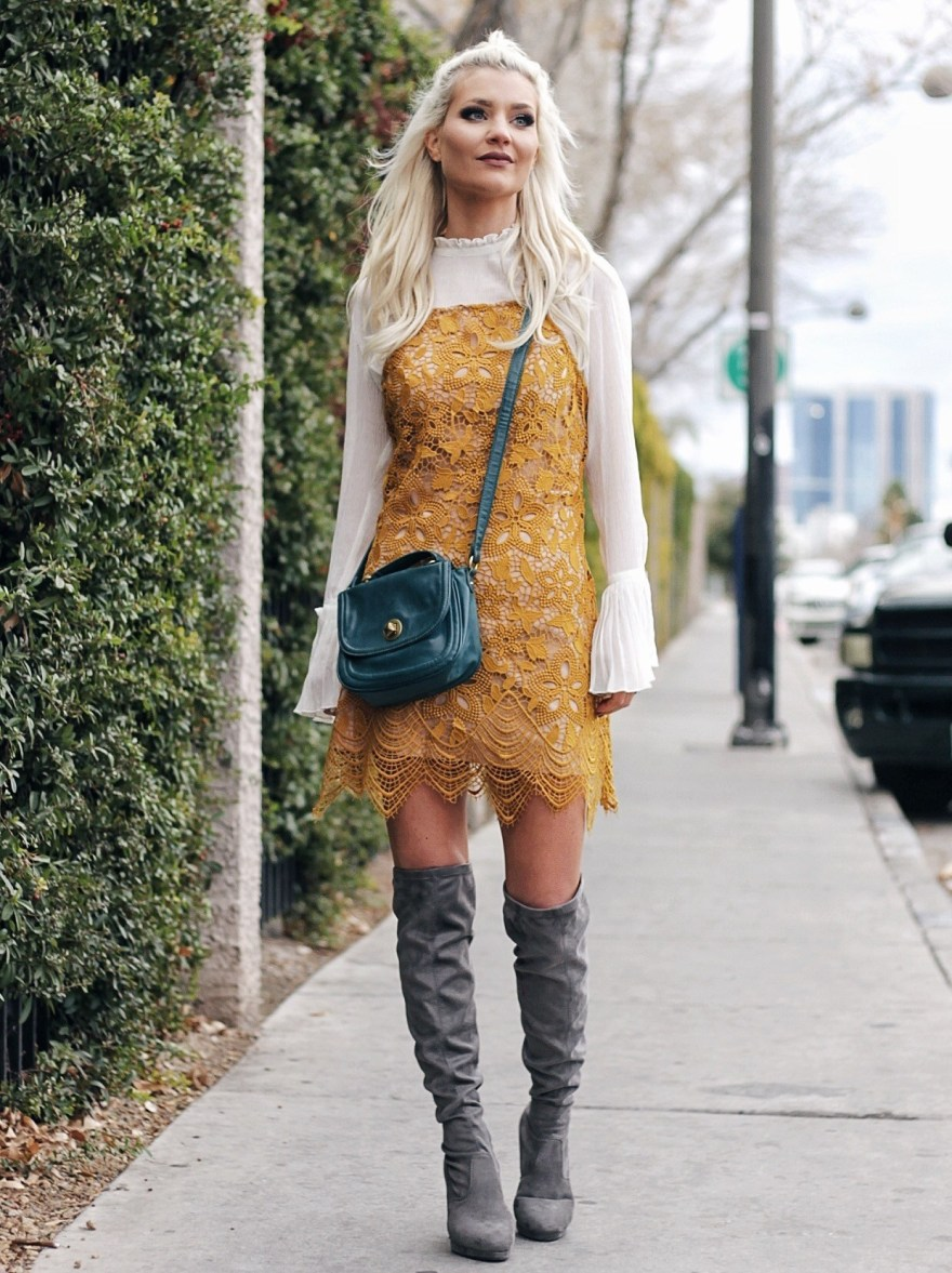 outfit roundup, 2017, 2018 style, fashion blogger, style blogger, beauty blogger, blonde hair, Las Vegas blogger, Lindsey Simon, The Nomis Niche, street style, casual style, feminine style, edgy outfit, outfit inspiration, how to wear, outfit ideas,  yellow dress, oak boots, over the knee boots, trumpet sleeves, bell sleeves