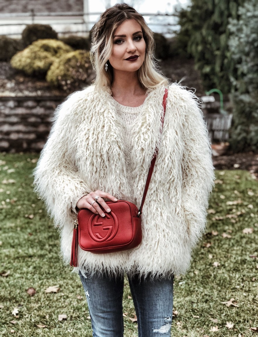Valentine's Day, Valentine's Day gifts, gift ideas, Gucci bag, Gucci soho bag, faux fur, faux fur coat, fuzzy coat, braids, blonde hair, blonde balayage, braided hairstyle, fashion blogger, beauty blogger, Las Vegas blogger, Lindsey Simon, The Nomis Niche, ootd, edgy outfit, outfit inspiration, winter outfit, winter fashion, fall fashion, fall style, winter style,