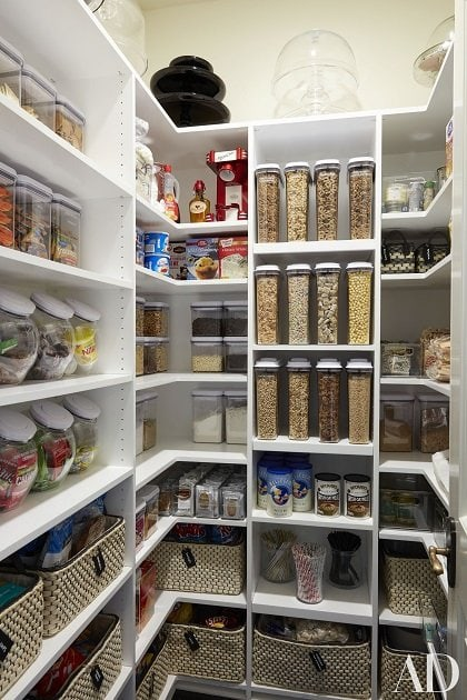 Khloe Kardashian's organized pantry from Architectural Digest