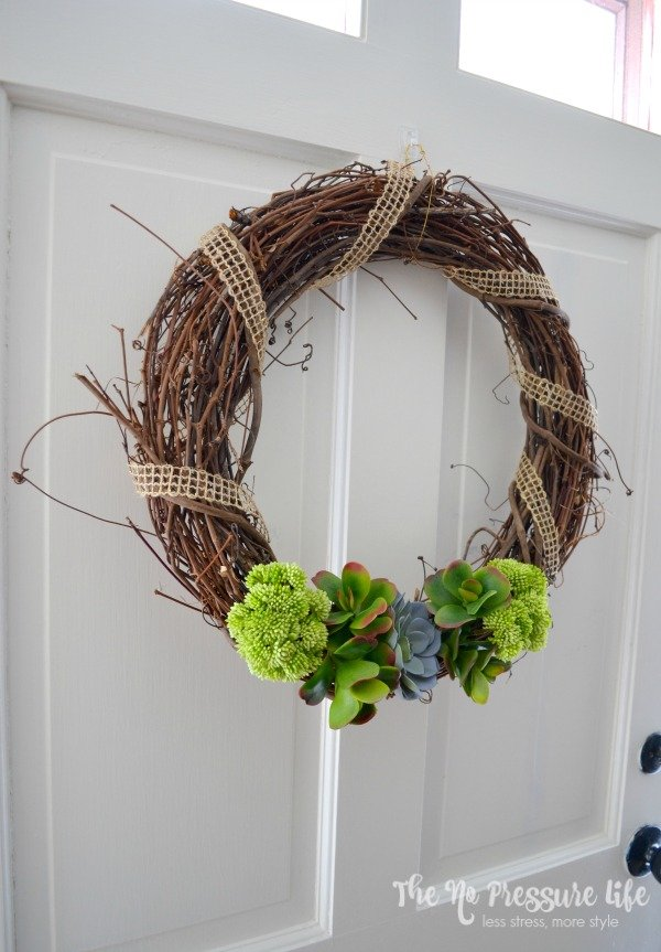 This DIY succulent wreath is simple spring decor for your door, and an easy craft project! | The No Pressure Life
