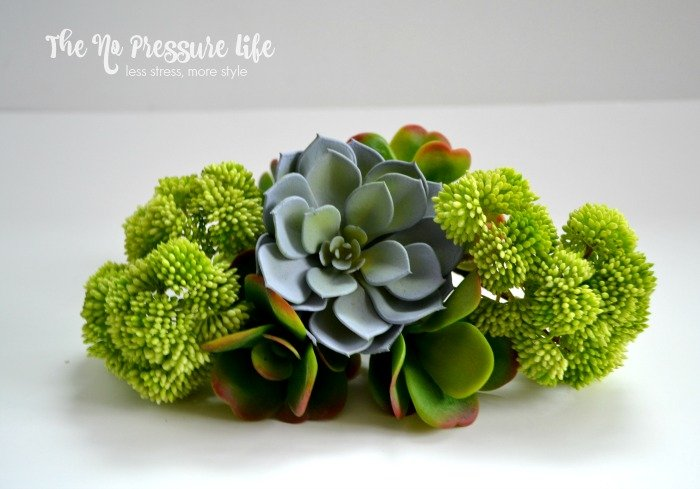 Faux Succulents for DIY succulent wreath - play around with the succulent arrangement before you attach them to your wreath.