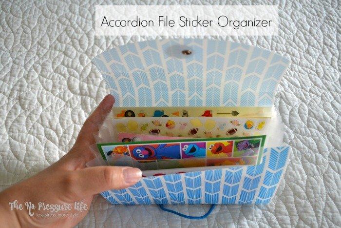 Easy way to organize stickers - sticker organization for a DIY art caddy.