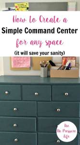 teal dresser used in a family command center