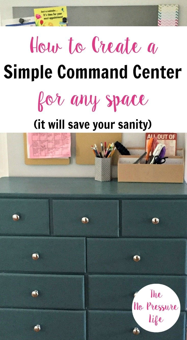 Keep your daily life organized with an inexpensive and simple command center! Great ideas for small spaces. | The No Pressure Life