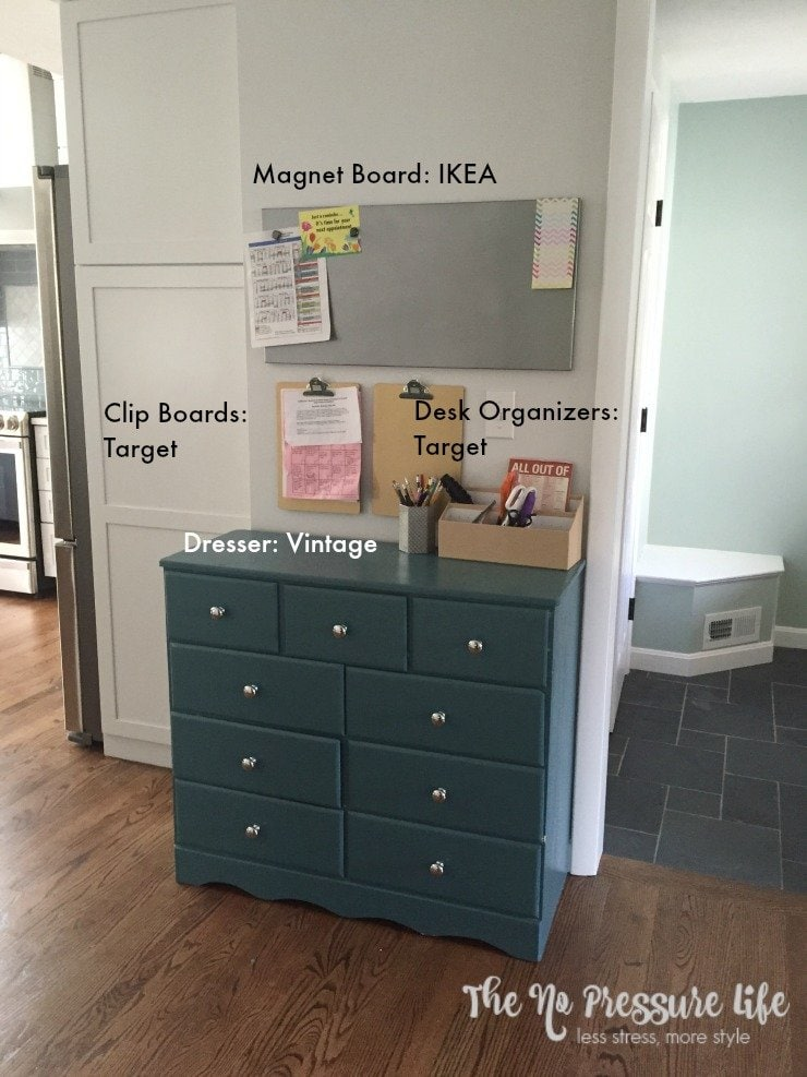 You don't need expensive supplies to create a simple command center. Shop your house and the dollar section for useful, cheap supplies to stay organized!