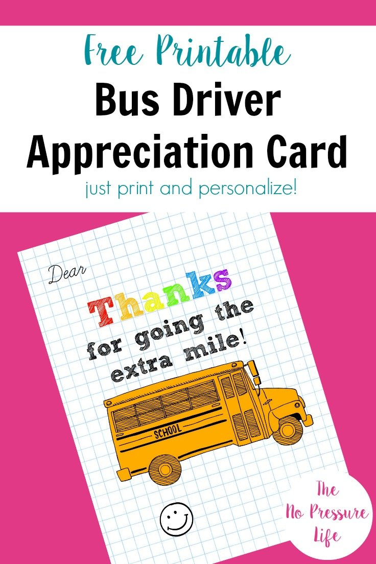 free printable card for Bus Driver Appreciation Day