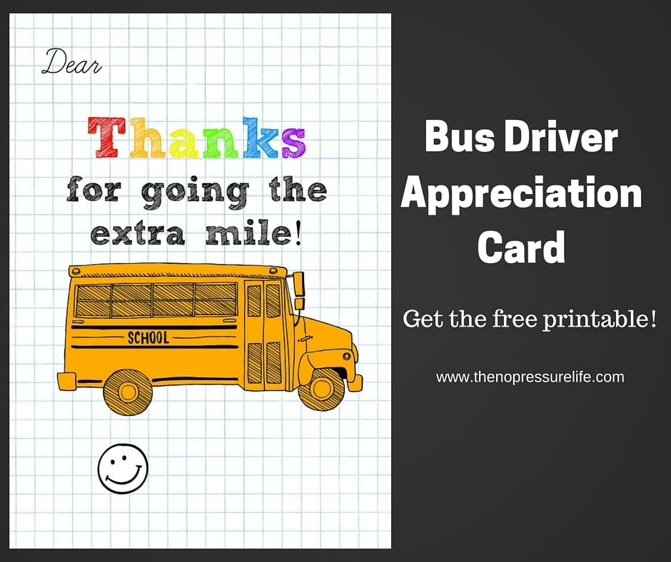 Bus Driver Appreciation Card: Free Printable!