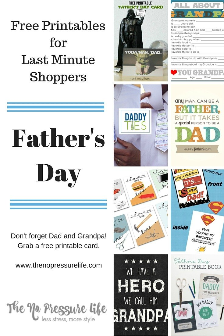 Father's Day printable cards that you can print at home