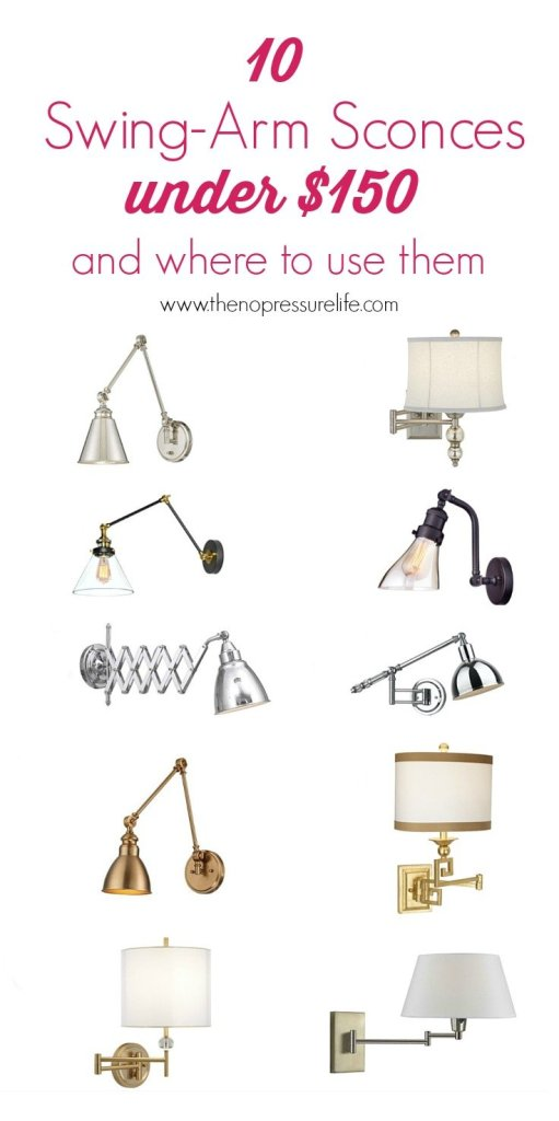 10 Affordable Swing-Arm Sconces Under $150. These inexpensive wall lamps are pretty and great for small spaces! | The No Pressure Life.