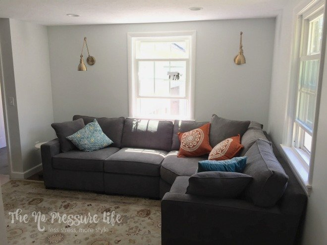Corner sectional with swing arm sconces - The No Pressure Life