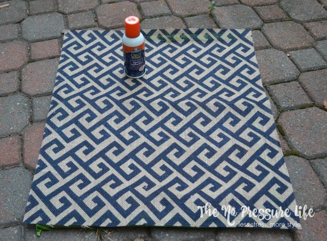 Cork Board Makeover with burlap fabric