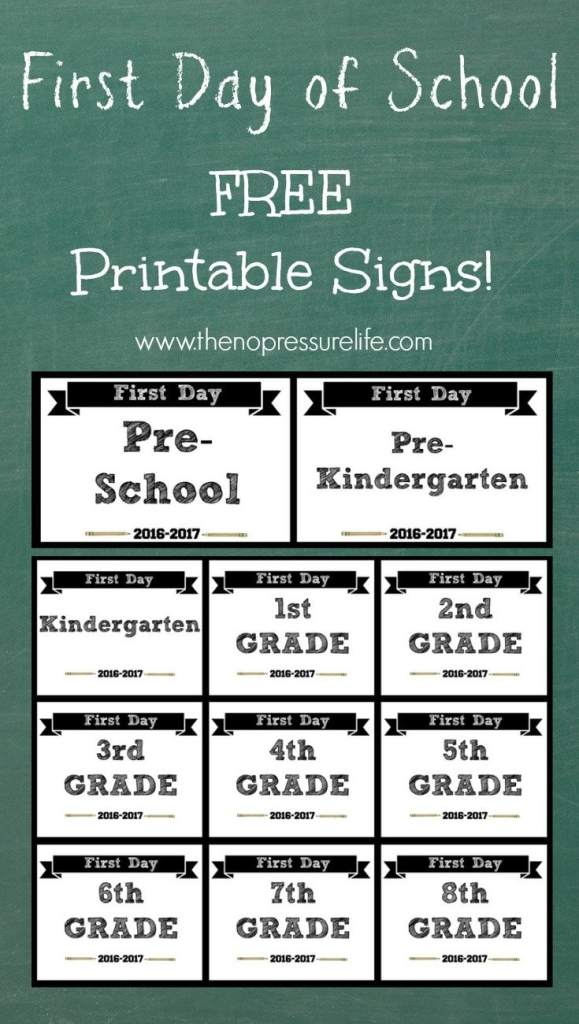 First Day of School Signs Free Printables: Print at home for first day of school pictures! You'll find printables for pre-school, pre-k, kindergarten, elementary, and middle school.