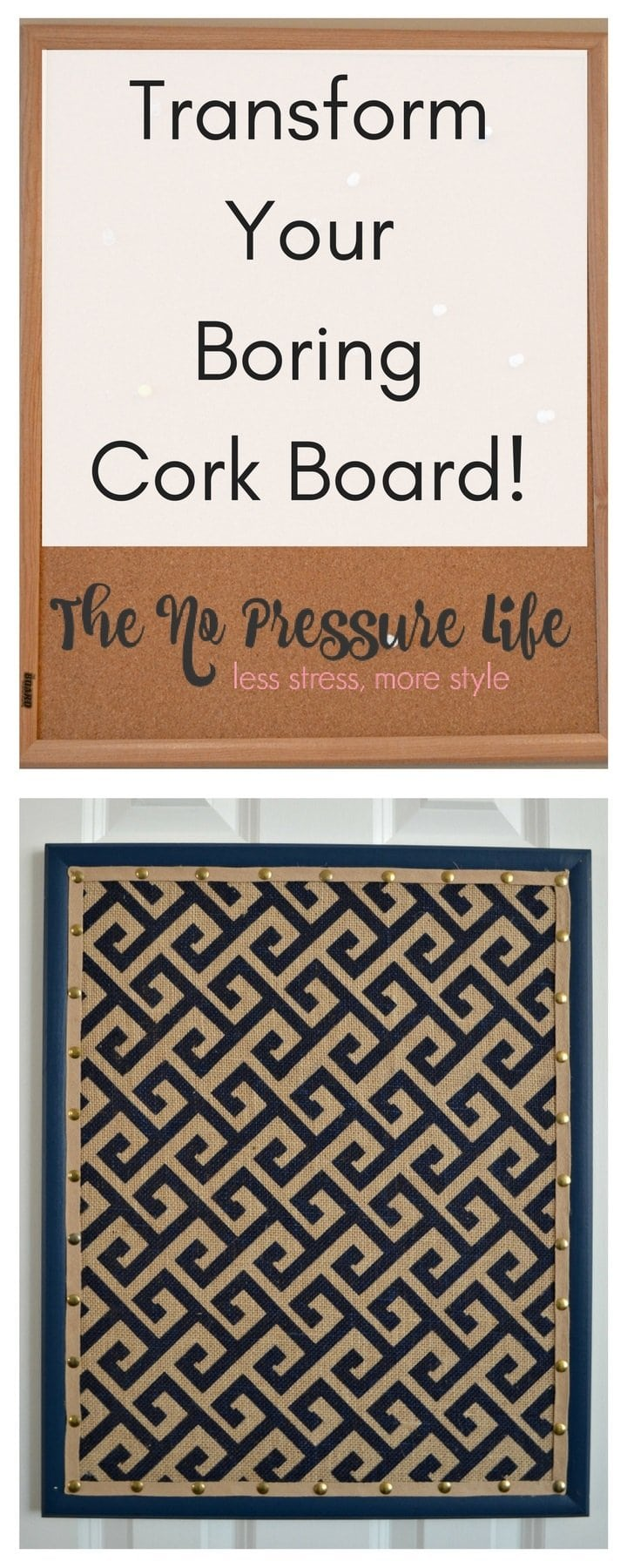 Transform your cork board! This is a great step-by-step tutorial to upgrade a plain cork board with burlap, paint, and faux nail head trim.