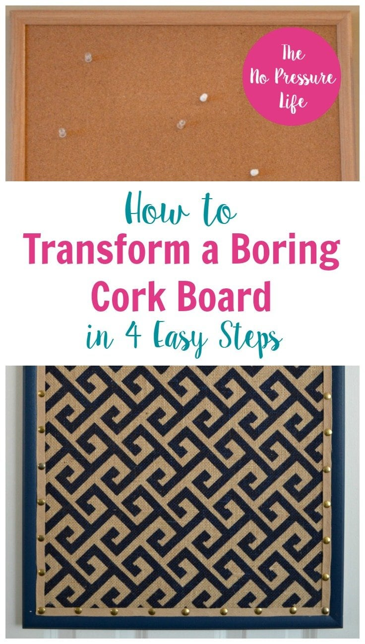 cork board makeover tutorial with fabric and ribbon
