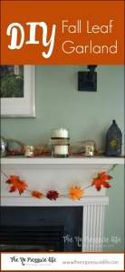 This DIY Fall Leaf Garland Tutorial takes just a few minutes and adds great color to your fall mantel decor!   The No Pressure Life