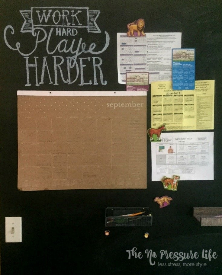 This magnetic chalkboard wall is a great way to create a simple command center for your family! Learn how to make this magnetic chalkboard at www.thenopressurelife.com