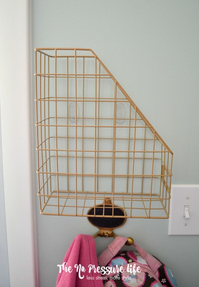How to stop paper clutter - wire magazine holders at front door