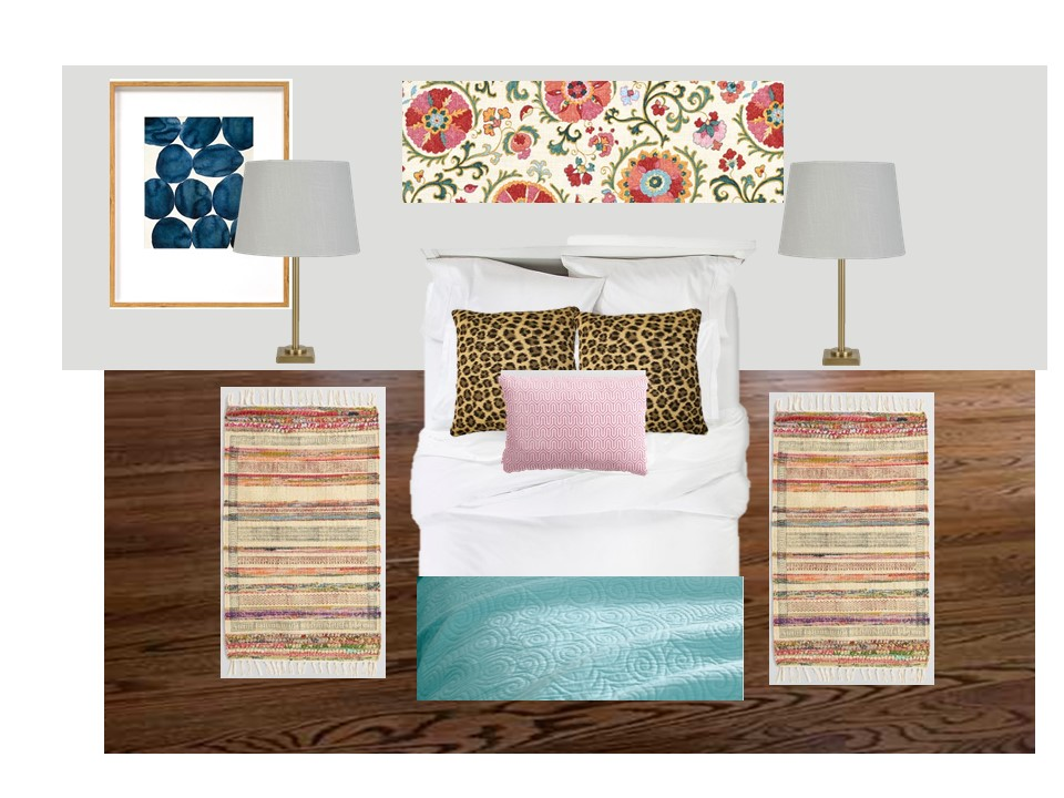 Guest Room Mood Board: An eclectic bedroom design featuring suzani and animal prints. - The No Pressure Life