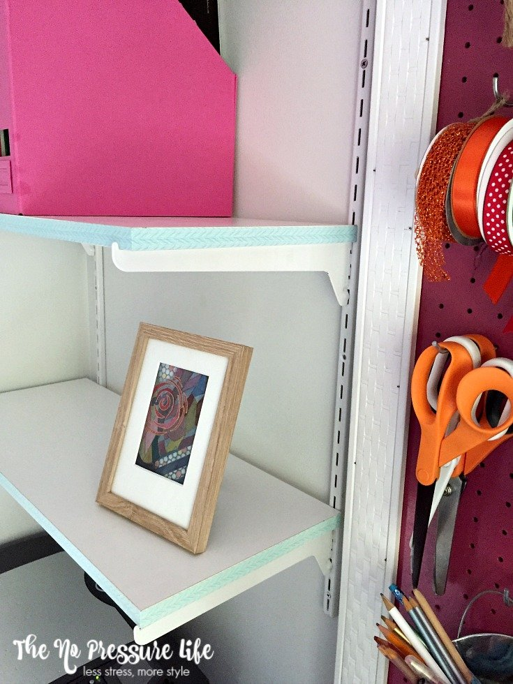 Learn how to update old shelves without paint using this simple trick! | The No Pressure Life
