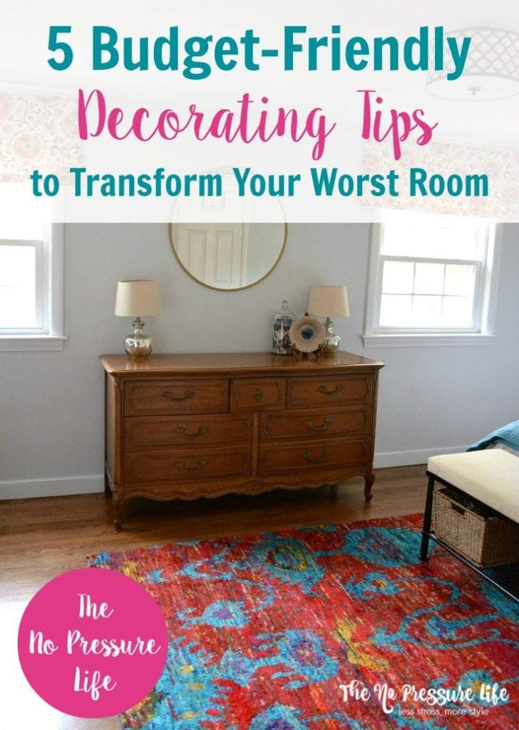 Pretty bedroom makeover on a budget! Great budget decorating tips, how to decorate on a budget, cheap decorating ideas, cheap room makeover
