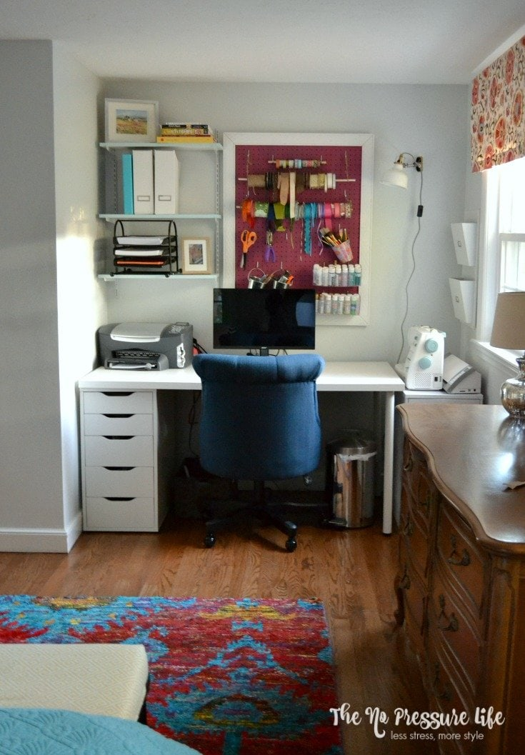 Organized small craft area: A craft space makeover on a budget.