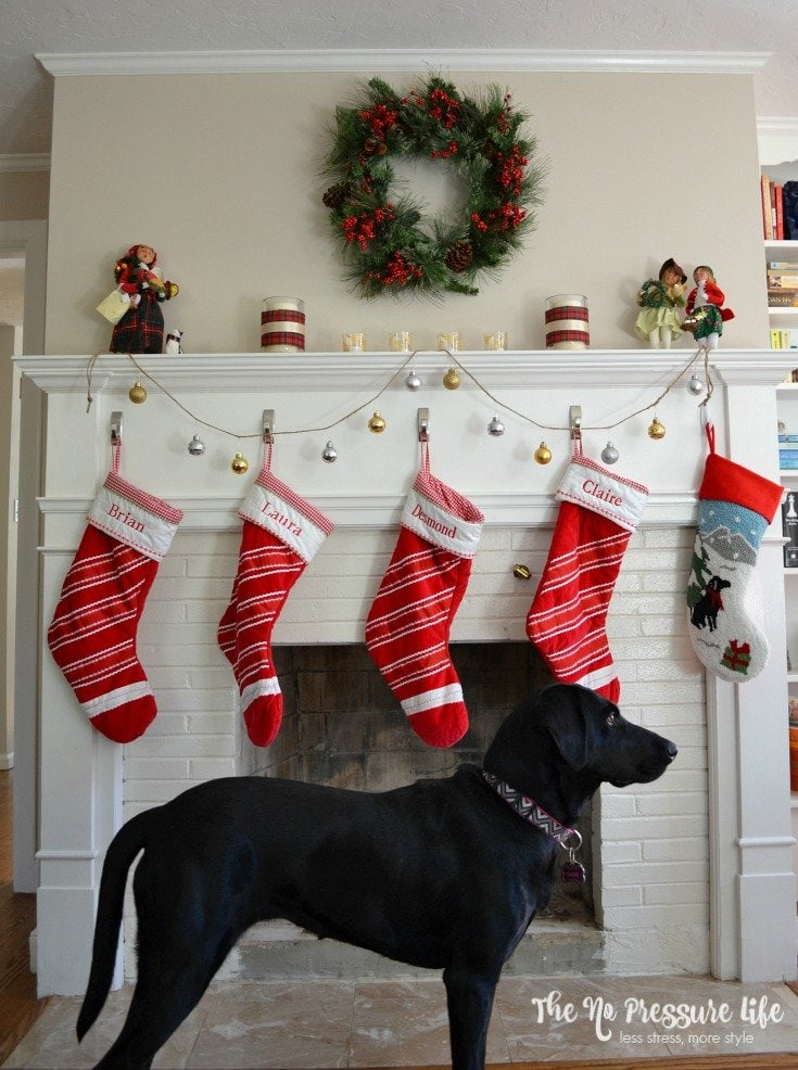 Learn how to make DIY ornament garland for a traditional Christmas mantle.