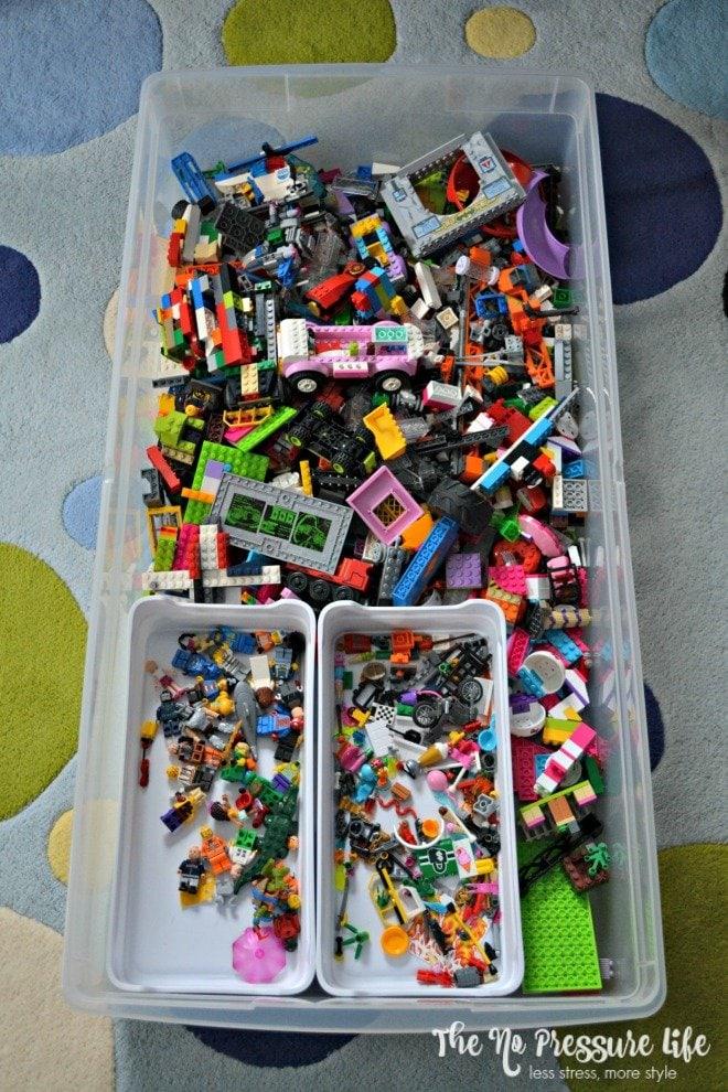 Organized LEGOs in an underbed storage bin