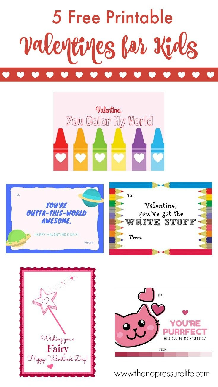 These free printable Valentine's Day cards for kids are so cute! Just download and print. Plus, get non-candy Valentine's Day treat ideas! From The No Pressure Life.