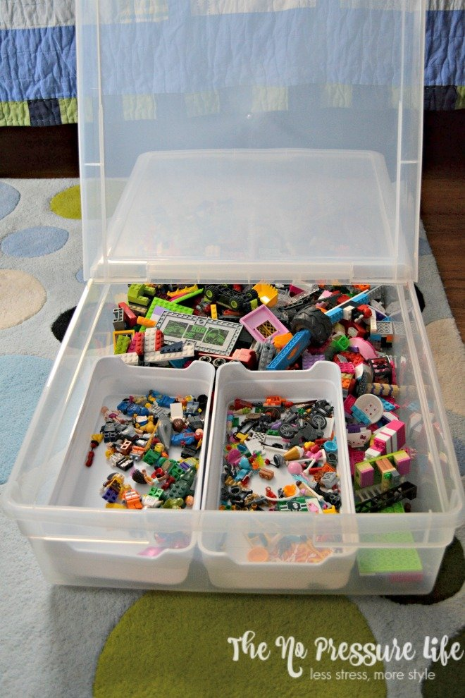 LEGOs in an underbed storage container