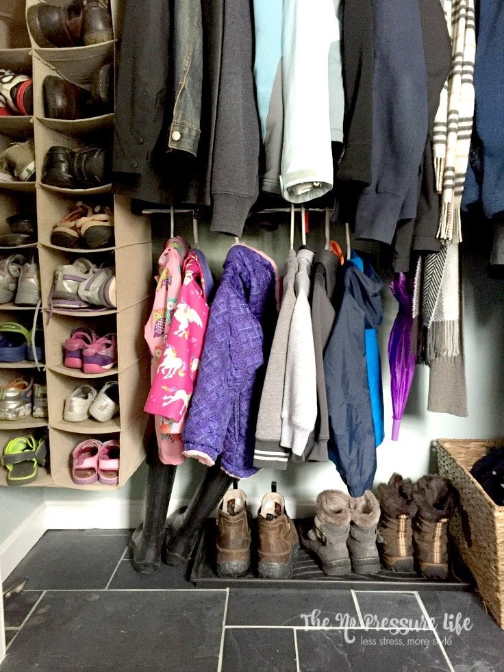 How to organize winter hats and gloves in a coat closet.