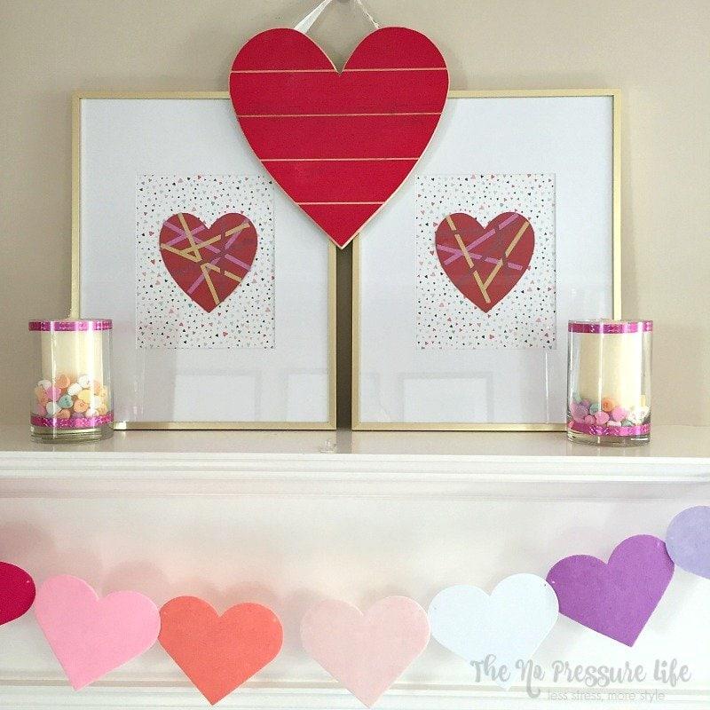 DIY Valentine's Day Mantel
