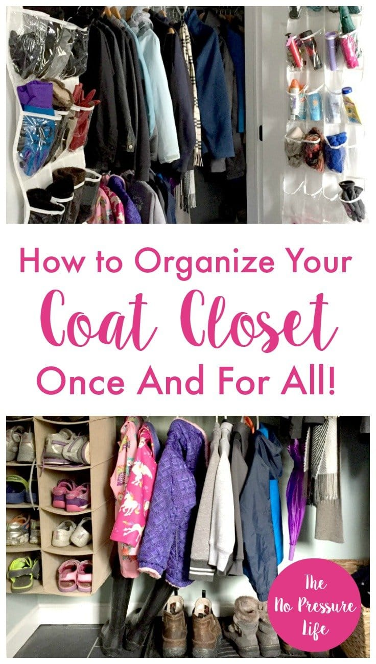 Such smart ideas in this organized coat closet! These cheap coat closet organization tips will work so well for my family. | The No Pressure Life