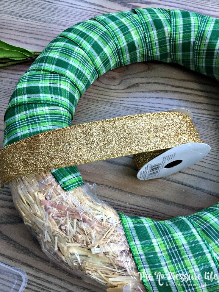 Green plaid ribbon for a DIY St. Patrick's Day wreath