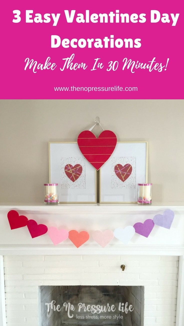 These DIY Valentine's Day mantel decorations are quick and cheap to make! Learn how at The No Pressure Life.