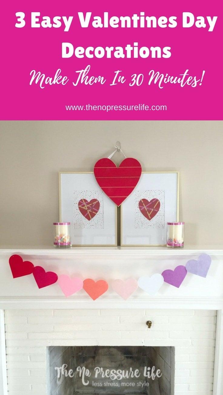 Valentine's Day mantel decorations - easy Valentine's Day DIY mantel decorations