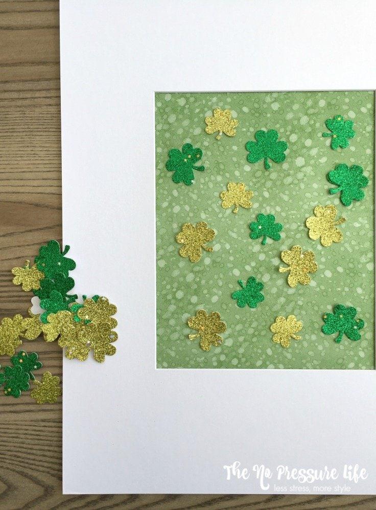 DIY framed art for St. Patrick's Day mantel decor