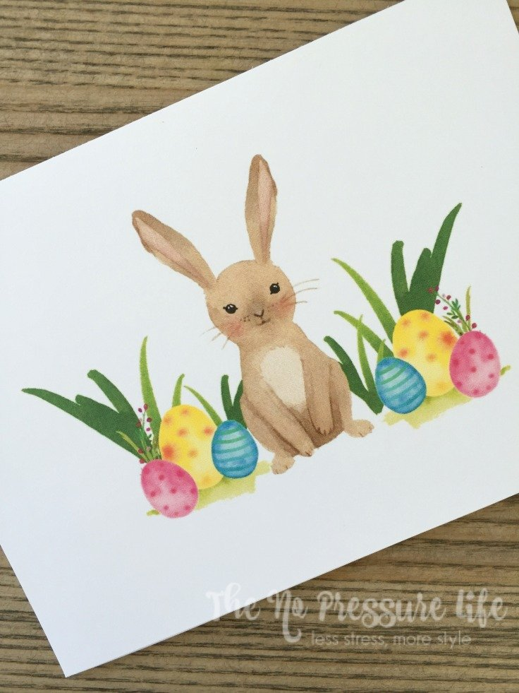 These free spring water color printables are so cute! Get the Welcome Spring free print and free Easter Bunny printable from The No Pressure Life.